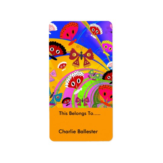 Bookplate Labels Kids Stickers Butterflies