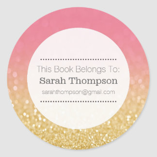 Bookplate School Name Stickers Gold Ombre Glitter