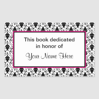 Bookplate sticker - pink and damask