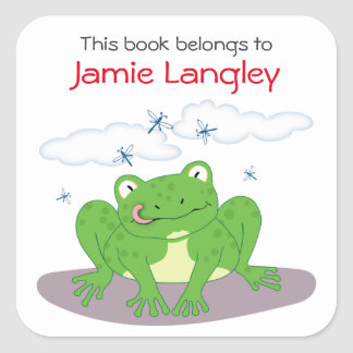 Bookplate This Book Belongs To Cute Hungry Frog Square Sticker