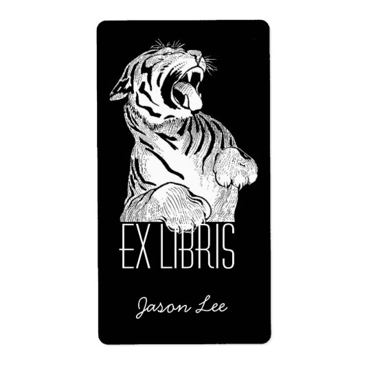 Bookplates Ex Libris White Tiger Big Cat On Black