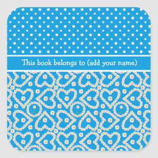 Bookplates to Personalize: Polkas, Daisies, Blue Square Sticker