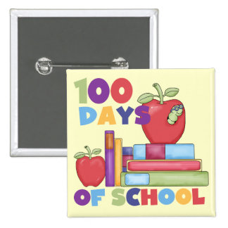 Books and Apples 100 Days of School Tshirts 2 Inch Square Button