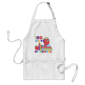 Books and Apples 100 Days of School Tshirts Adult Apron