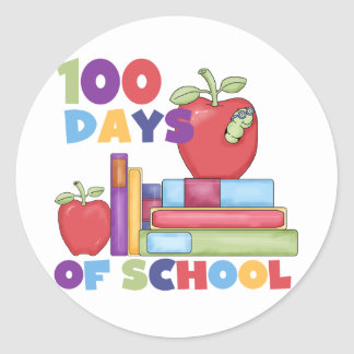 Books and Apples 100 Days of School Tshirts Round Sticker