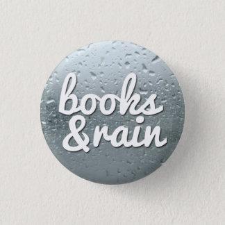 Books and Rain 1 Inch Round Button