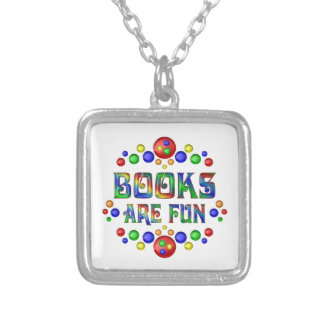Books are Fun Silver Plated Necklace