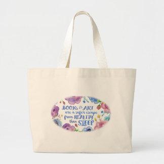 Books, Art & Sleep Large Tote Bag