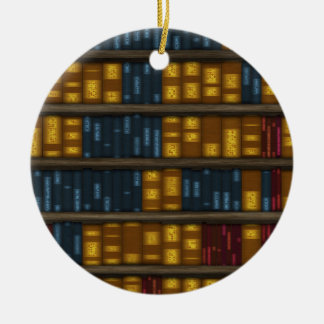 Books, Books, Books - Bookshelf Pattern Ceramic Ornament