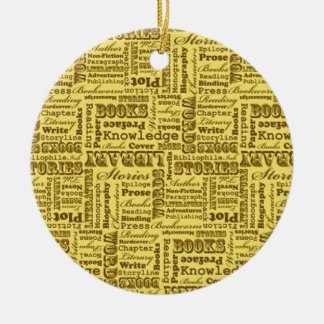 Books Books Books! Ceramic Ornament