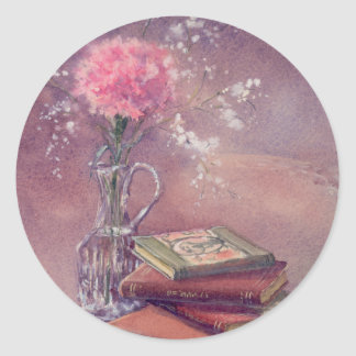 BOOKS & CARNATION by SHARON SHARPE Classic Round Sticker