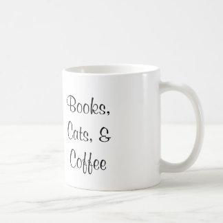 Books, Cats, and Coffee Mug - original artwork