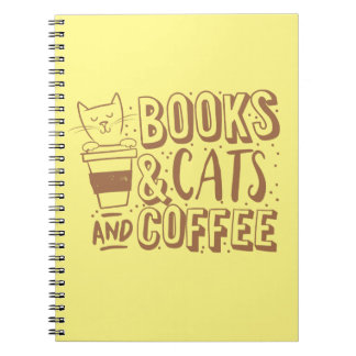 books cats and coffee notebook