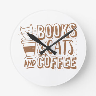 books cats and coffee wall clock
