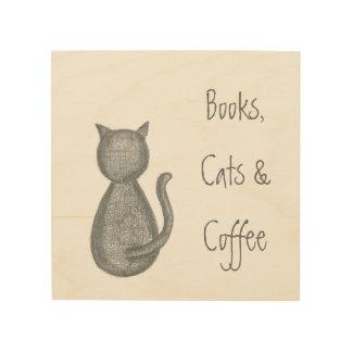Books, Cats, & Coffee - Pencil Drawing - Original Wood Wall Art