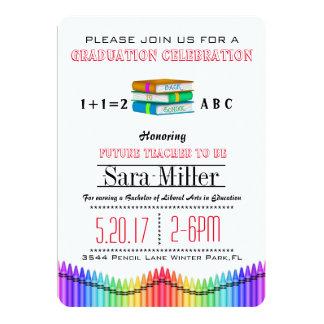 Books & Crayons Teacher Graduation Invitation