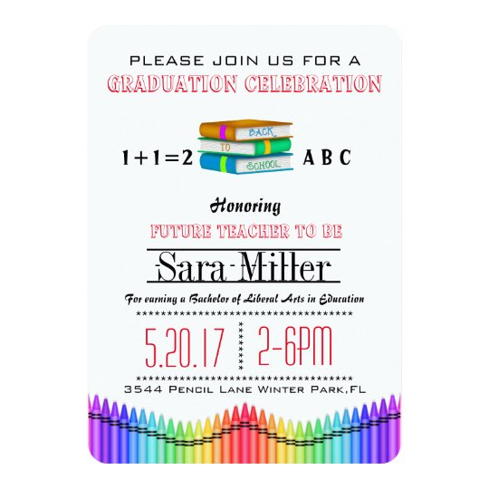 Books & Crayons Teacher Graduation Invitation