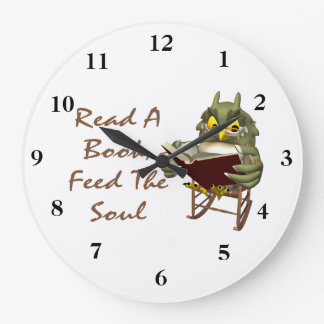 Books Feed The Soul Wise Owl Large Clock