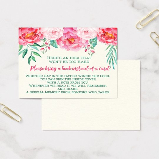 Books for Baby, Floral Baby Shower, Bring a Book Business Card