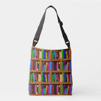 Books Library Bookshelf Pattern for Readers Crossbody Bag