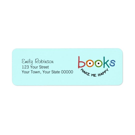 Books Make Me Happy Return Address Label
