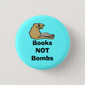 Books Not Bombs Scottish Independence Cat Badge 1 Inch Round Button