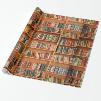 Books on Bookshelf Background Wrapping Paper