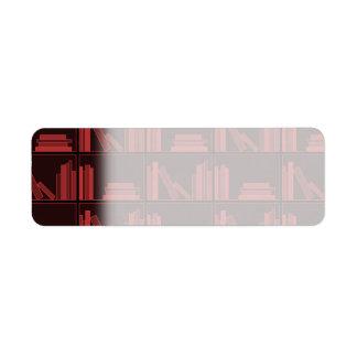 Books on Shelf Dark Red Custom Return Address Labels