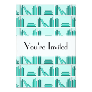 Books on Shelf. Design in Teal and Aqua. Card