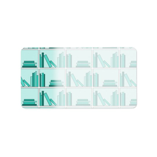 Books on Shelf. Design in Teal and Aqua. Label