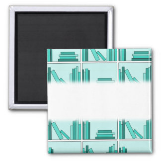 Books on Shelf. Design in Teal and Aqua. Square Magnet