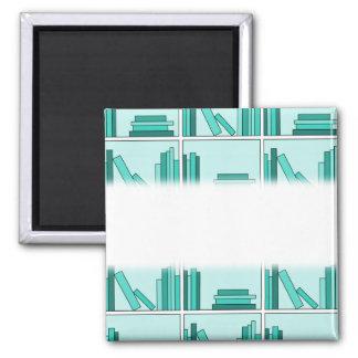 Books on Shelf. Design in Teal and Aqua. Square Magnet
