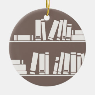 Books on the shelf for reading lover or wise guy ceramic ornament