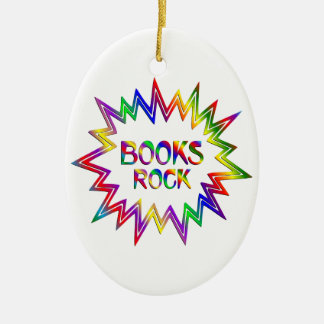 Books Rock Ceramic Ornament