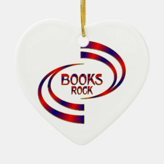 Books Rock Ceramic Ornament