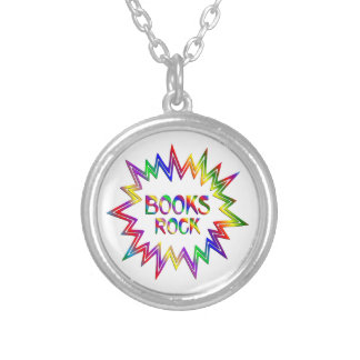 Books Rock Silver Plated Necklace