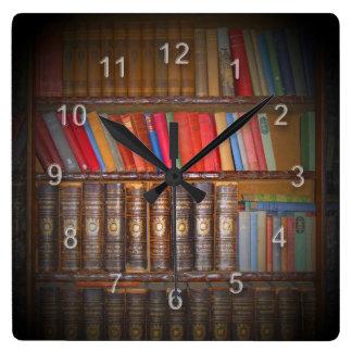 Books Square Wall Clock