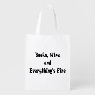 Books Wine Everything's Fine Reusable Bag