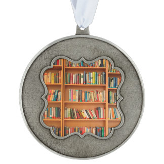 Bookshelf Books Library Bookworm Reading Scalloped Pewter Ornament