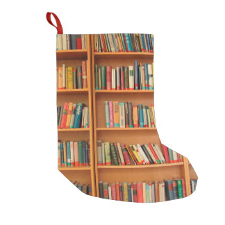 Bookshelf Books Library Bookworm Reading Small Christmas Stocking