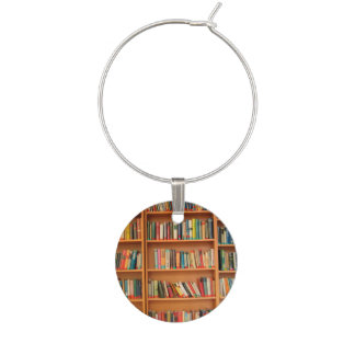 Bookshelf Books Library Bookworm Reading Wine Glass Charm