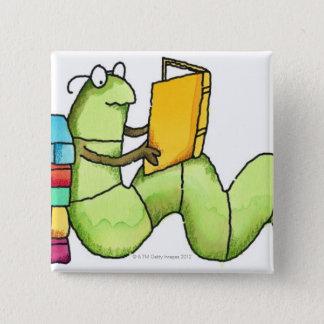 Bookworm 2 Inch Square Button