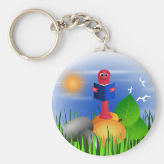 Bookworm Book Worm Colorful Cute Round Keychain
