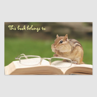 Bookworm Chipmunk Bookplate Sticker