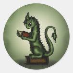 Bookworm Dragon Round Sticker
