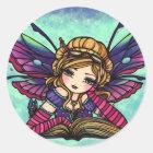 Bookworm Fairy Library Fantasy Art Stickers