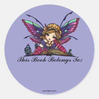 Bookworm Library Fairy Fantasy Art Bookplate Classic Round Sticker
