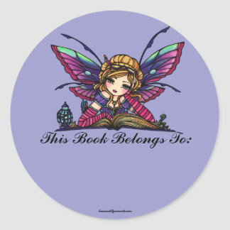Bookworm Library Fairy Fantasy Art Bookplate Round Sticker