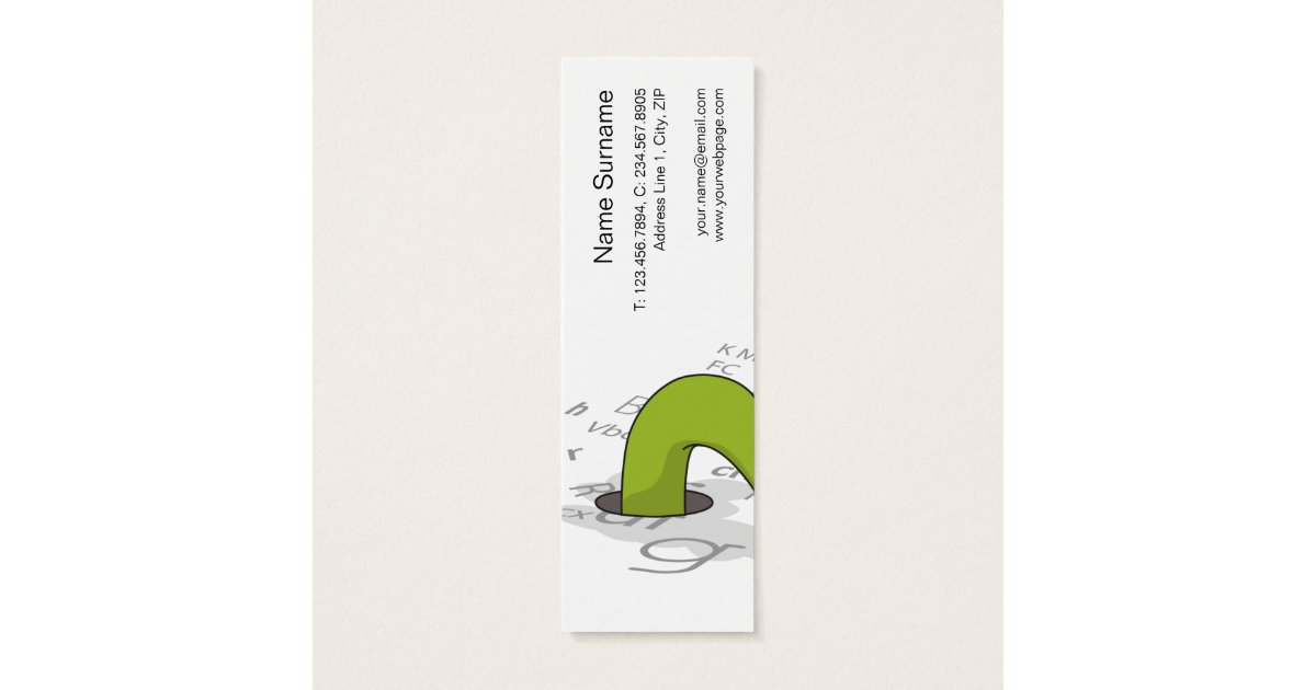 Bookworm mini bookmark business profile template mini for Bookworm bookmark template