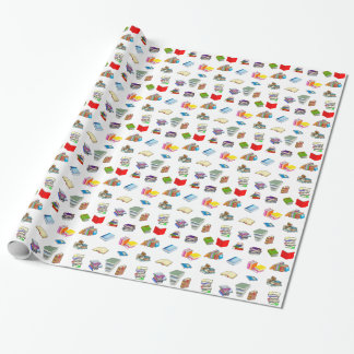 Bookworm Pattern Wrapping Paper